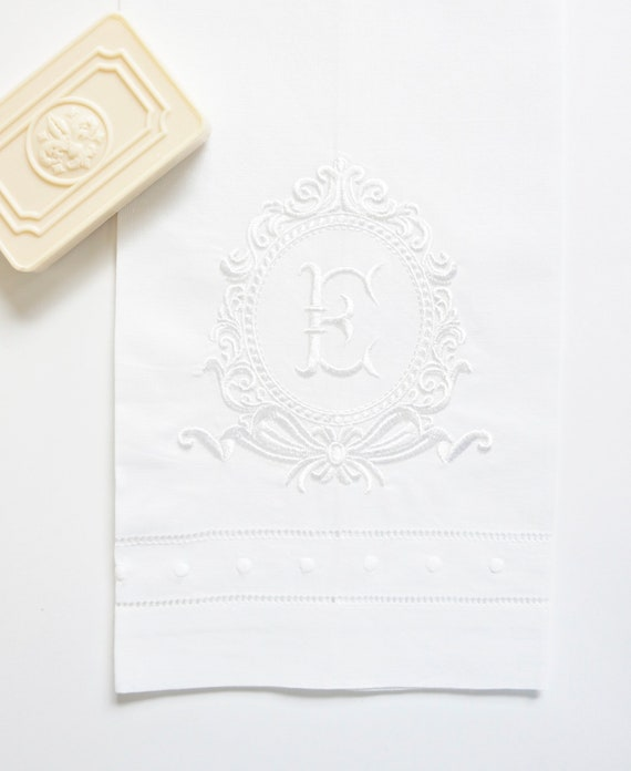 ROCOCO FRAME and monogram Embroidered Dinner Napkins, Linen Towels, wedding or hostess gift, bridal shower gift, kitchen towels
