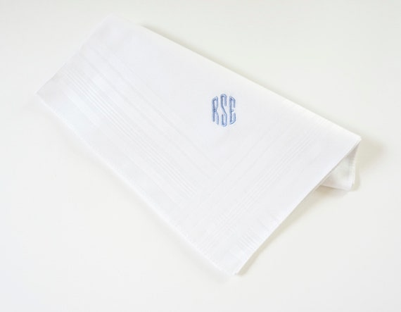 MENS TAILORED font Embroidered Monogrammed Handkerchief
