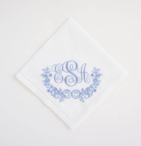 wedding hankie SOMETHING BLUE design and font Embroidered Monogrammed Handkerchief