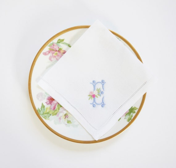 ROSE design and font Embroidered Monogrammed Handkerchief, Personalized Custom Handkerchief, Wedding Hankie, Bridesmaids gifts