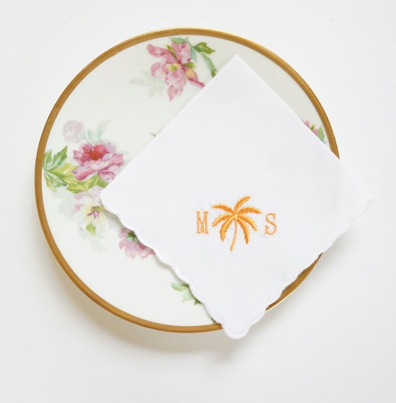 LADIES PALM DESIGN Monogram design and font Embroidered Monogrammed Handkerchief, Personalized Custom Handkerchief