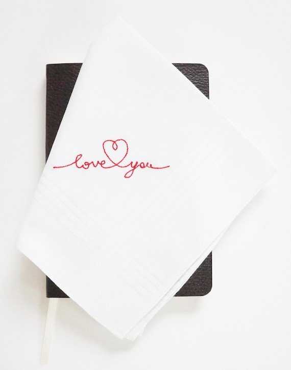 LOVE NOTE FONT Mens Embroidered Monogrammed Handkerchief, Wedding Handkerchief, Personalized Pocket Square,  Hankie