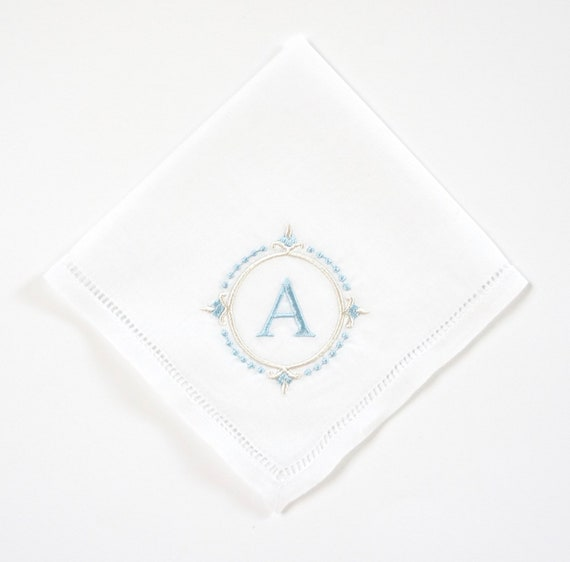Compass Monogram Handkerchief, Personalized Bridal Handkerchief, Wedding Handkerchief