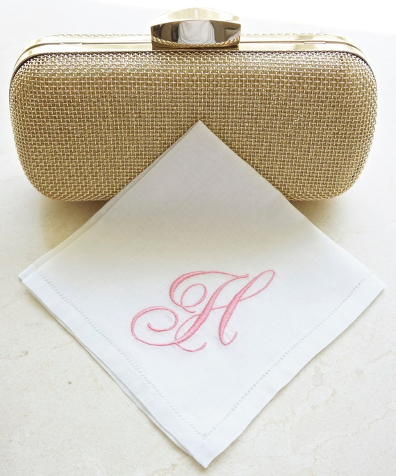 Monogrammed Handkerchief, Cotton or Linen Handkerchief, Personalized Handkerchief,  Bridal Handkerchief, Wedding Handkerchief