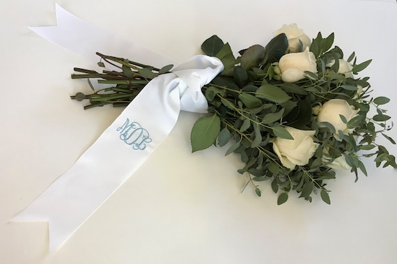 "PERSONALIZED EMBROIDERED 3"" RIBBON, 36"" length with Monogram, Grosgrain Ribbon, Bridal and Wedding Bouquets, Gifts, Bridesmaids"