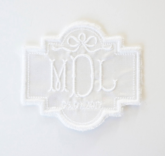 Custom Monogram Embroidered Wedding Dress Patch