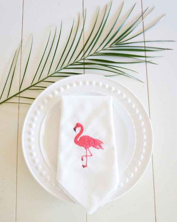 Flamingo Embroidered Linens - Dinner Napkins and Hand Towels