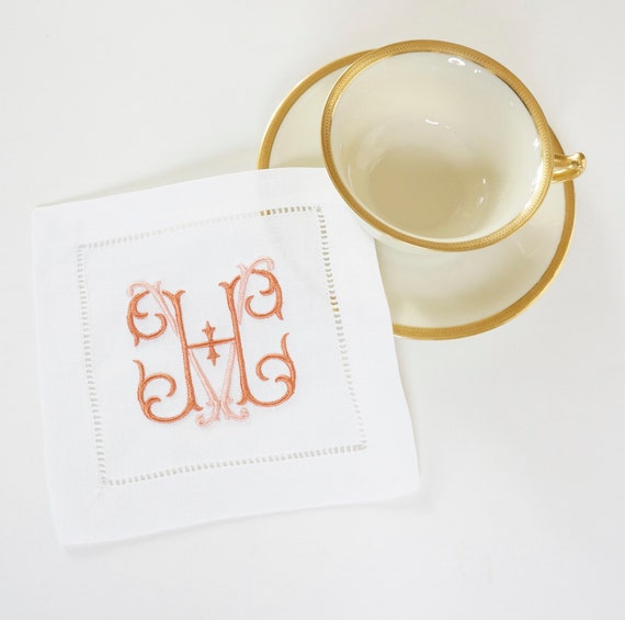 MONOGRAMMED COCKTAIL NAPKINS, Estate Font Style, 6 X 6 inch, Hostess Gift, Wedding Reception, Personalized Embroidered Linen Hemstitched