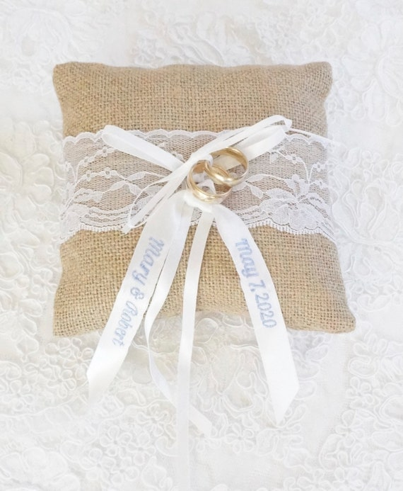 Custom Embroidered Ring Bearer Pillow in Burlap and Lace for Rustic Themed Wedding