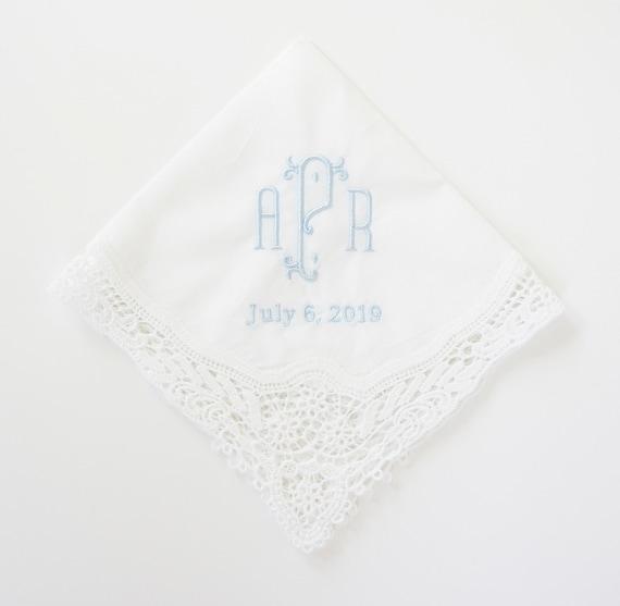CHIC font Embroidered Monogrammed Handkerchief, Wedding Hankie