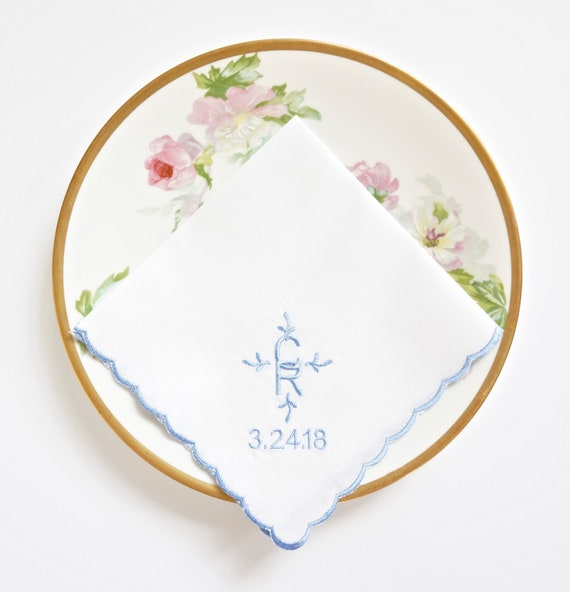 Custom Linen or Cotton Ladies Intertwined Monogrammed Handkerchief