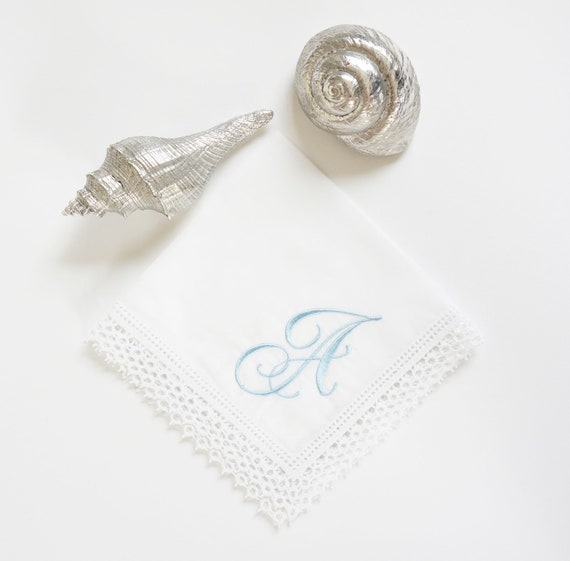 FLOURISH font Embroidered Monogrammed Handkerchief, Personalized Custom Handkerchief