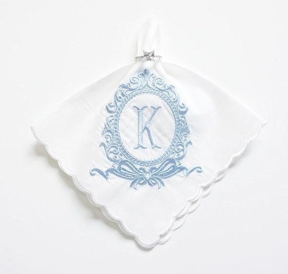 Rococo Monogram Handkerchief, Personalized Bridal Handkerchief, Wedding Handkerchief