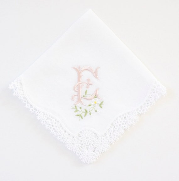 DAISY font design Embroidered Monogrammed Handkerchief, Personalized Custom Handkerchief