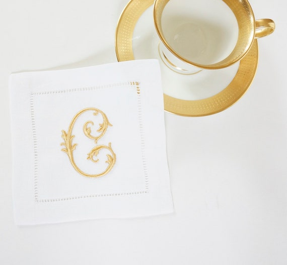MONOGRAMMED COCKTAIL NAPKINS, Chateau Font Style, 6 X 6 inch, Hostess Gift, Wedding Reception, Personalized Embroidered Linen Hemstitched