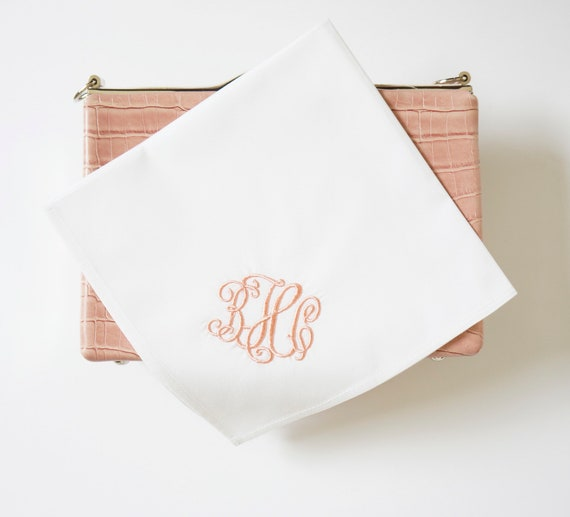 RIBBON font Embroidered Monogrammed Handkerchief, Personalized Custom Handkerchief, Wedding, Bridal, Bridesmaids, Mother of Bride hankie