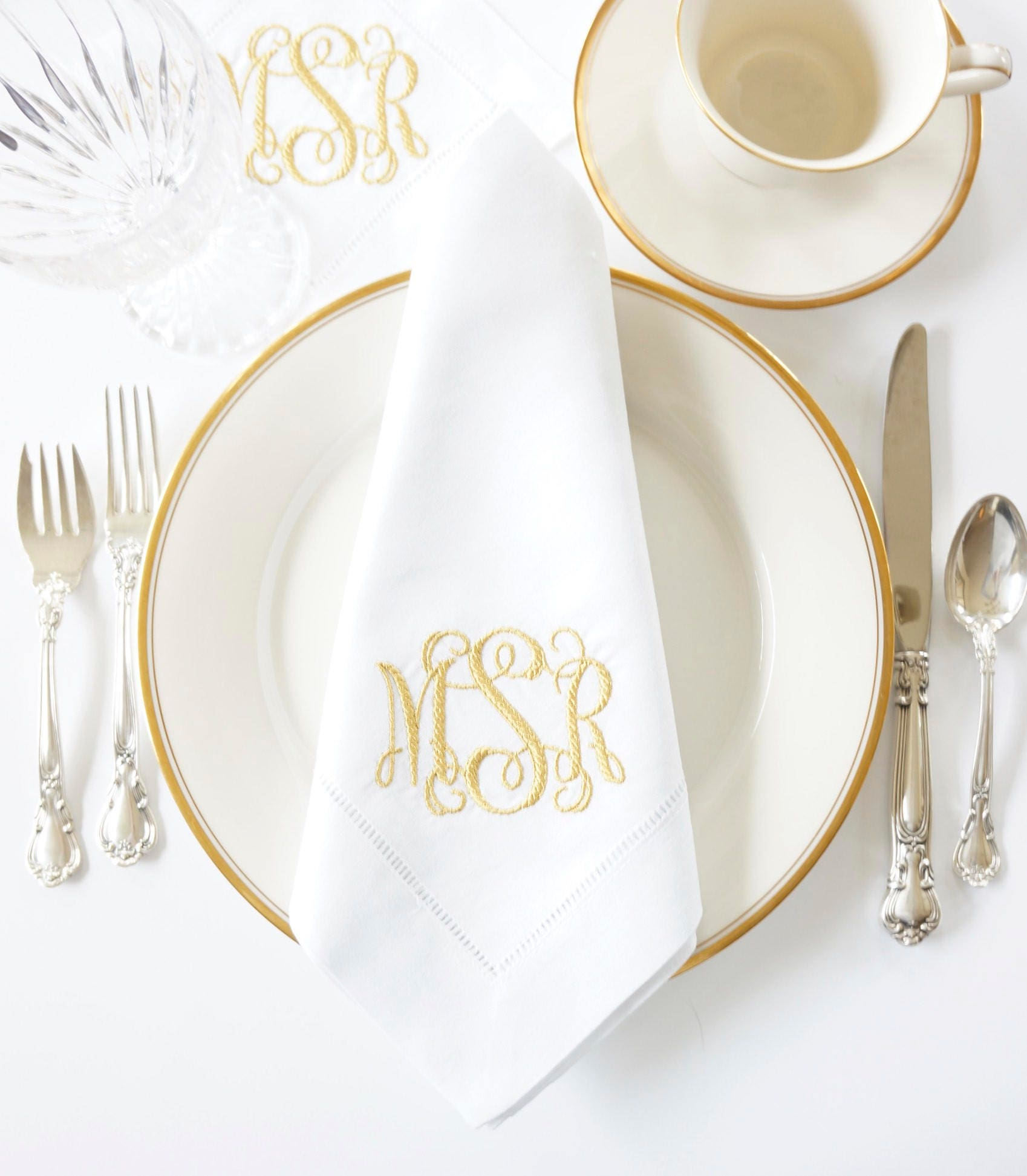 braided monogram embroidered dinner napkins guest hand towels table linens wedding keepsake for special occasions