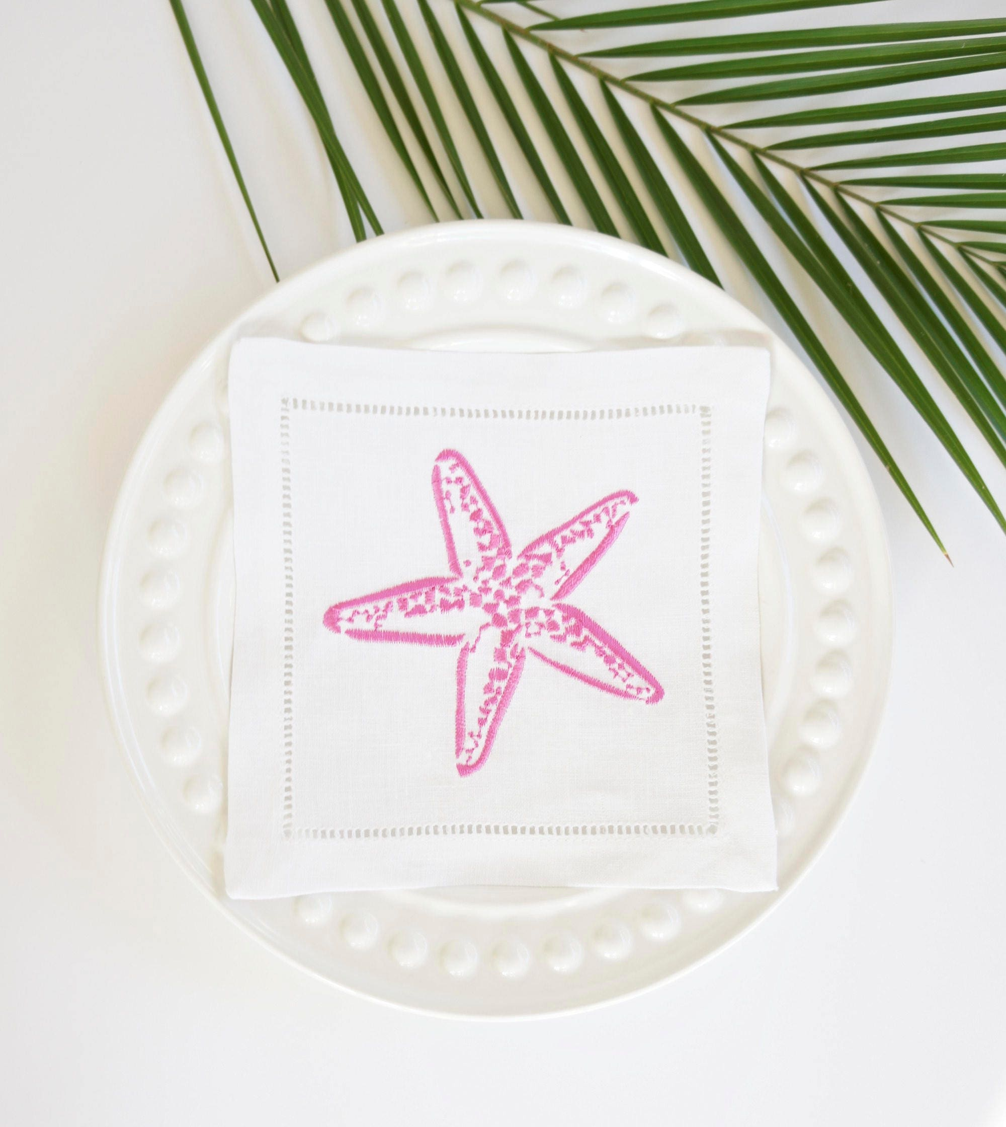 Starfish Embroidered Linen Cocktail Napkins