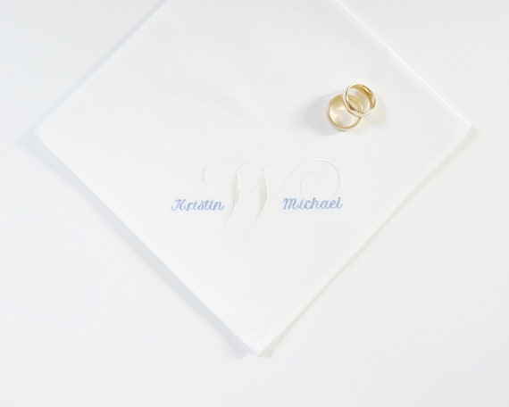 LADIES BRIDE & GROOM and Surname Initial Monogram design Embroidered Monogrammed Fabric Cloth Handkerchief, Couples Wedding Handkerchief