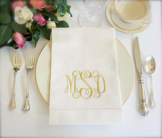 Scroll II Monogram Embroidered Fabric Wedding Napkins