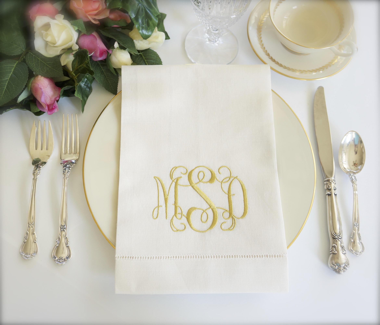 Scroll Ii Font Monogram Embroidered Fabric Wedding Napkins