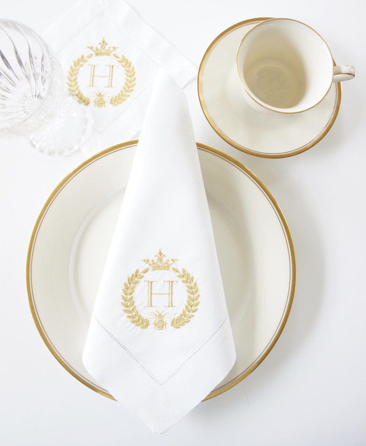 Bee Crown Monogram Embroidered Dinner Napkins And Guest Hand