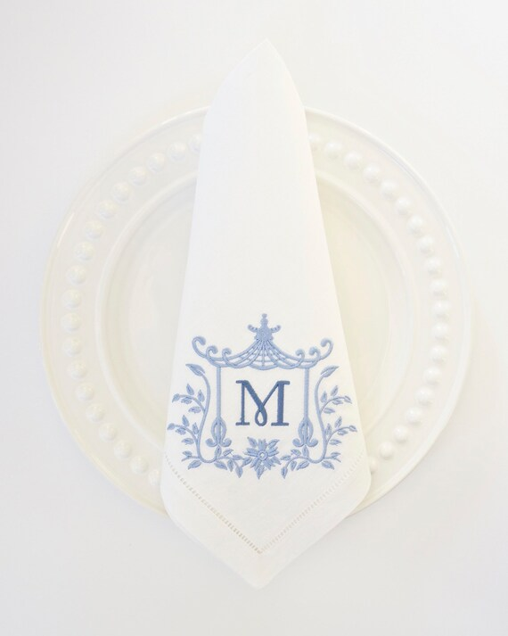 Pagoda Monogram IV Embroidered Dinner Napkins, Linen Towels, wedding or hostess gift, bridal shower gift, kitchen towels
