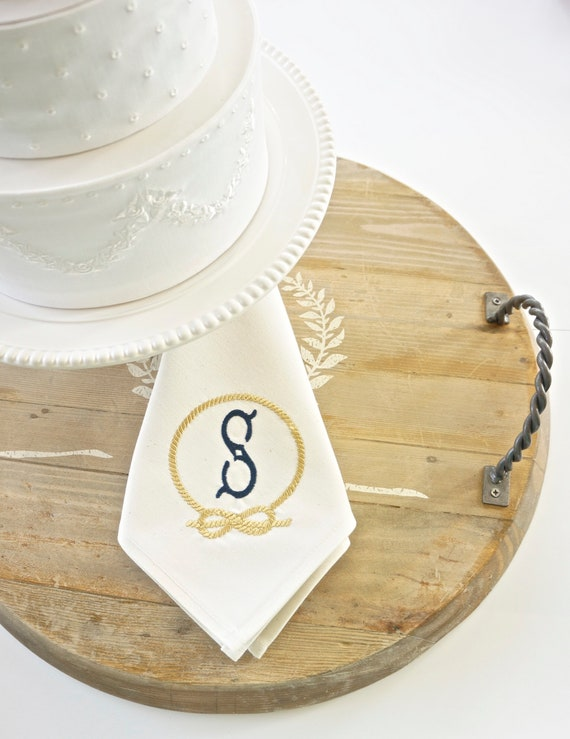NAUTICAL Monogram Embroidered Dinner Napkins and Guest Bath Hand Towels - Wedding Keepsake for Special Occasions