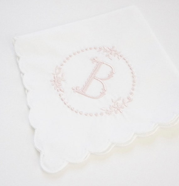 BABIES BREATH Embroidered Monogram Frame Handkerchief, Personalized Custom Handkerchief