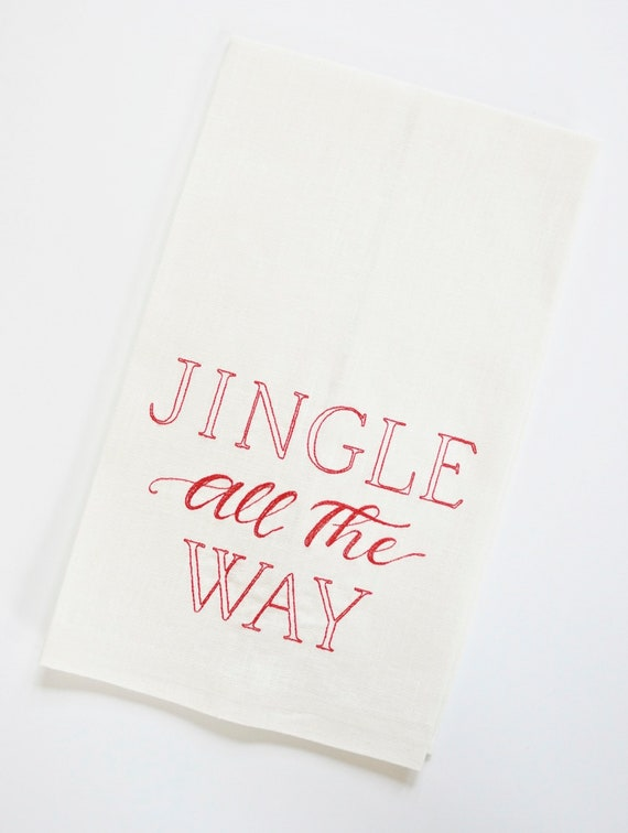 Jingle All the Way Design on Table Linens and Towels