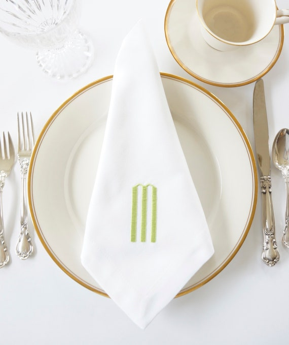 ART DECO Monogram Embroidered Napkins and Linens