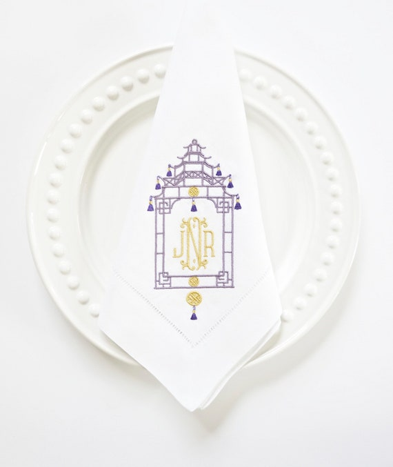 Pagoda Monogram V Embroidered Dinner Napkins, Linen Towels, wedding or hostess gift, bridal shower gift, kitchen towels