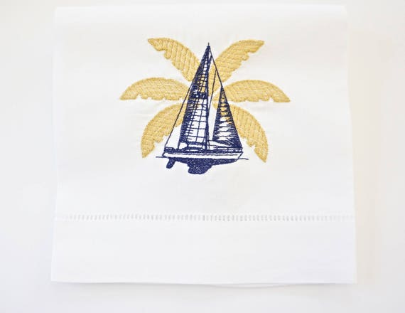 Palm Leaves and Yacht Embroidered Dinner Napkins and Hand Towels
