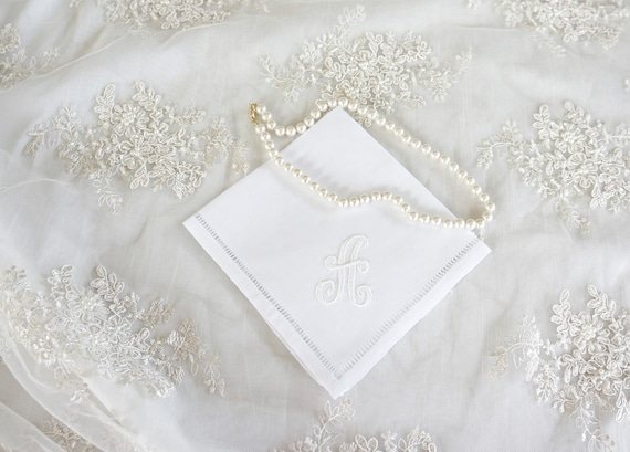 ENGLISH SCRIPT font Embroidered Monogrammed Handkerchief, Personalized Custom Handkerchief