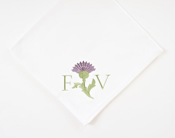 THISTLE AND MONOGRAM Embroidered Table Linens - Dinner Napkins and Hand Towels