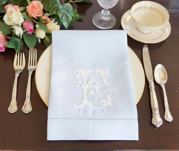 PRIMROSE Monogram Embroidered Dinner Napkins & Guest Hand Towels