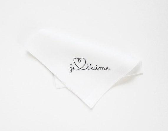 JE T'AIME Love Note Font Mens Embroidered Monogrammed Handkerchief, Wedding Handkerchief, Personalized Pocket Square,  Hankie