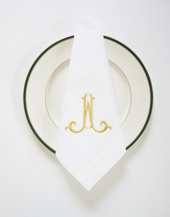 ELEGANT FONT as Single Letter Monogram, Embroidered Custom Cloth Napkins, Towels and Linens