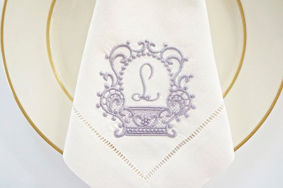 BRIDAL LACE Monogram Embroidered Napkins in Cotton or French Linen, Hemstitched or Linen Towel, wedding and bridal shower gift, hostess gift