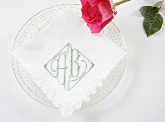 PARISIAN font Embroidered Monogrammed Handkerchief, Personalized Custom Handkerchief
