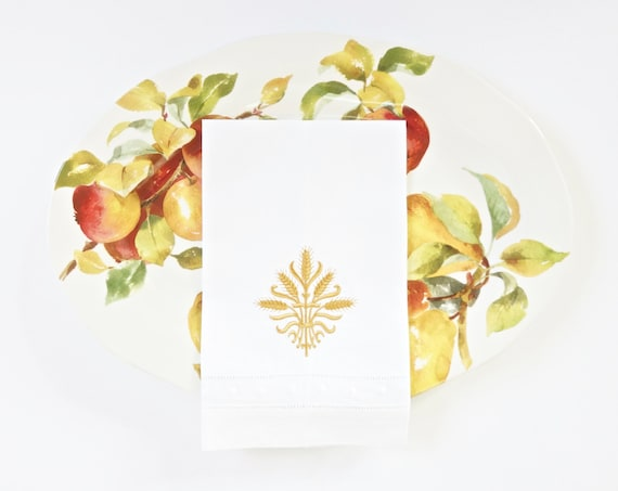 Harvest Wheat Embroidered Dinner Napkins and Linen Towels