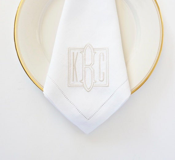 EMBOSSED FONT Monogrammed Napkins,  Embroidered Custom Cloth Napkins, Towels and Linens
