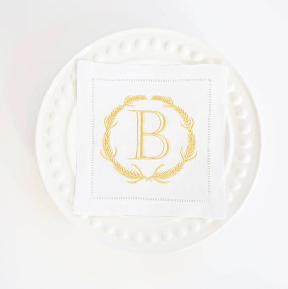 WHEAT WREATH Monogram Embroidered Linen or Cotton Dinner Napkins & Hand Towels, wedding or hostess gift, bridal shower gift, kitchen towels