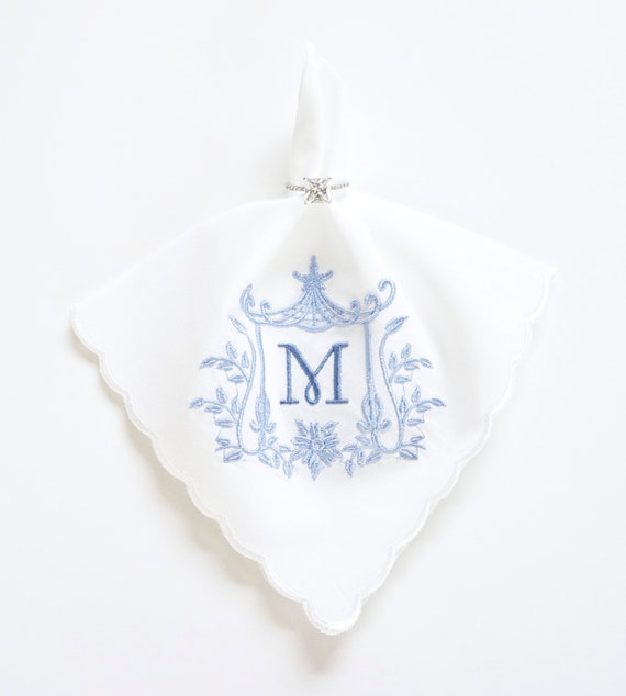 Pagoda IV Monogrammed Handkerchief, Personalized Bridal Handkerchief, Wedding Handkerchief