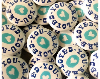100 You Are Loved 1-inch Pinback Buttons by Factory Kid Buttons