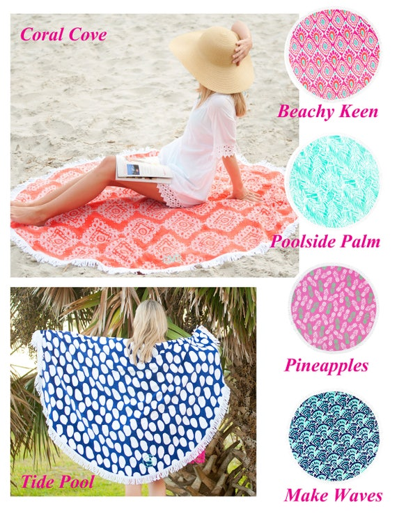 Round Beach Towel Monogram Round Beach Towel Personalized Etsy
