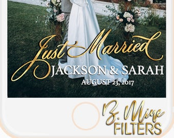 WEDDING SNAPCHAT GEOFILTER, Wedding Filter, Gold Snapchat Filter, Just Married, Elegant Wedding Snachat Filter, Simple Snapchat Geofilter