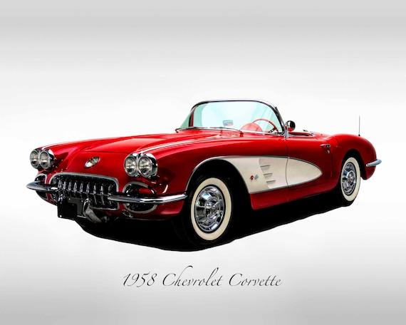 1958 Chevrolet Corvette Classic Car Print