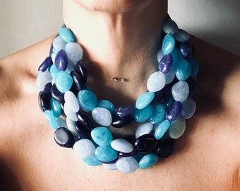 Colorful necklace in shades of blue, 8-wire choker made with large resin nuggets from heavenly blue to blue, for her