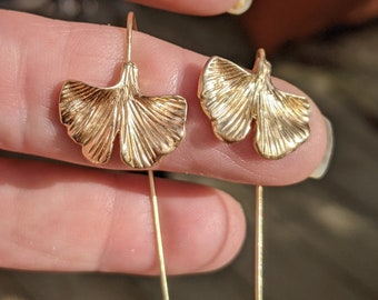 Gold Plated Gingko Leaf Earrings / Symbol of Peace and Hope / Longevity / Beautiful and Somehow Delicate